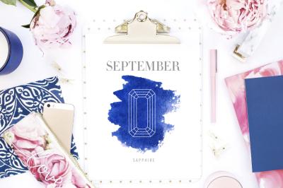 September Birthstone Sapphire Art Print