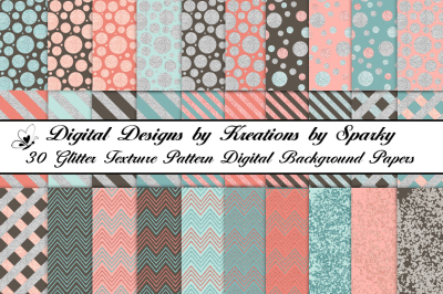 30 patterned/textured glitter digital background papers