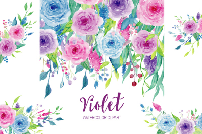 Watercolor Clipart Violet Collection