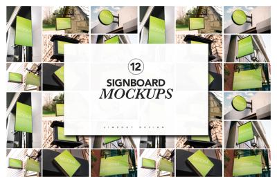 12 Signboard Mockups
