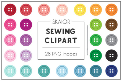 Rainbow Sewing Buttons Clipart