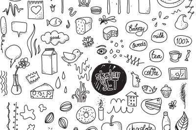 Isolated doodle objects set, hand drawn