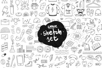 Large doodle objects set. Hand drawn.