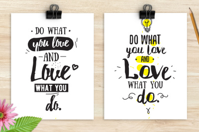 Do what you love, two cards with quote
