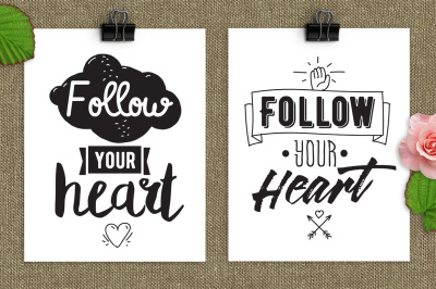 Follow your heart, inspirational cards.