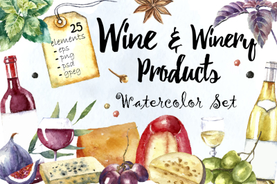 Watercolor Winery Illustration