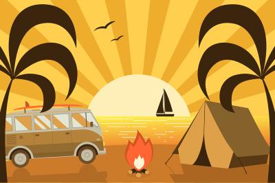 Summer Beach Camping Landscape