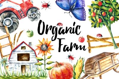 Watercolor Organic Farm