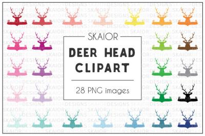 Rainbow Deer Head Banner Clipart
