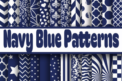 Navy Blue Patterns Digital Paper