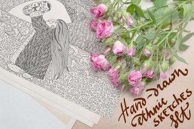 Hand-drawn ethnic sketches set