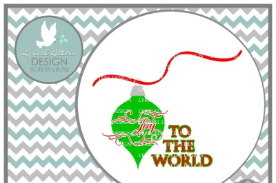 Joy to the World Christmas Ornament and Ribbon SVG DXF EPS AI JPG PNG
