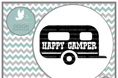 Happy Camper RV Airstream Camping LL054 E SVG DXF EPS AI JPG PNG