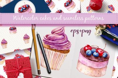 Watercolor cakes. Vector set