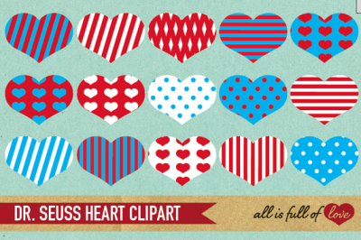 Dr Seuss Heart Clipart Red and Blue