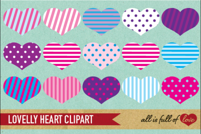 Pink and Purple Heart Clipart