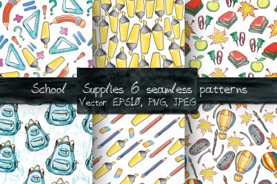 School supplies seamless patterns