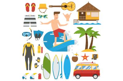 Surfing Trip Vector Elements