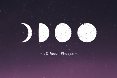 Flat Moon Phases Clip Art Set