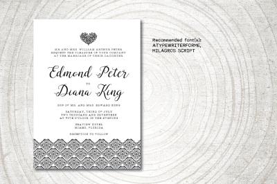 Coral Wedding Invitation template