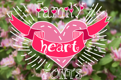 Family fonts with hearts