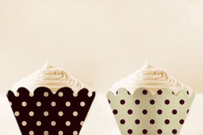 Black Polka Dots Cupcake Wrappers to Print