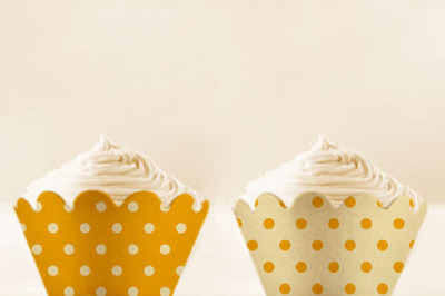 Yellow Polka Dots Cupcake Wrappers Printable
