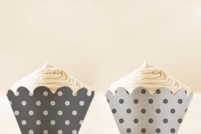 Grey Polka Dots Cupcake Wrappers to Print