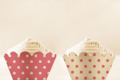 Pink Polka Dots Cupcake Wrappers to Print