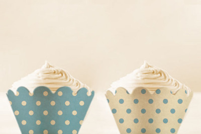 Baby Blue Polka Dots Cupcake Wrappers Printable