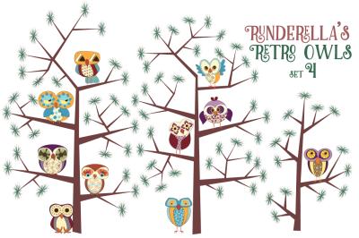 Runderella's Retro Owls, Set 4 (PNG Files)