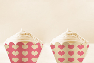 Pink Heart printable Cupcake Wrappers