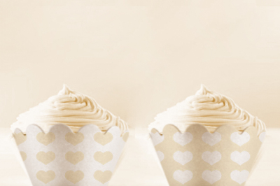 White Heart printable Cupcake Wrappers
