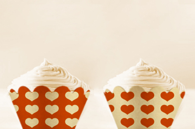 Orange Heart Cupcake wrappers to print