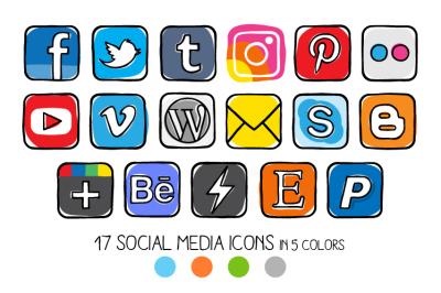 VECTOR - Guache social media icons