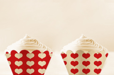 Red Heart Cupcake wrappers to print