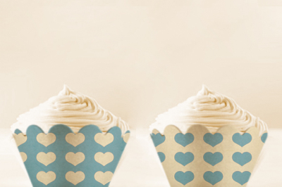 Baby Blue Heart Cupcake wrappers to print