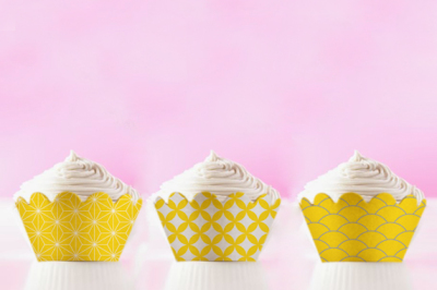 Yellow Japanese Cupcake wrappers to print