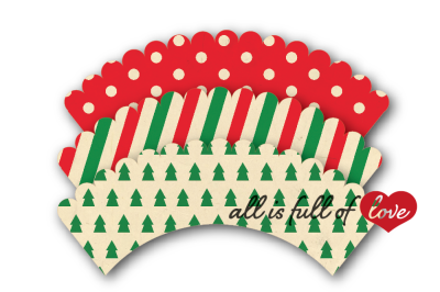 Christmas cupcake wrappers to print