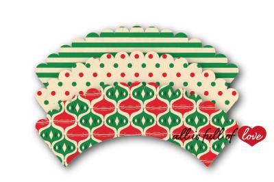 Vintage Christmas cupcake wrappers to print