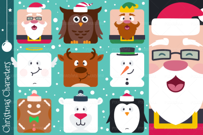 Square Flat Christmas Characters