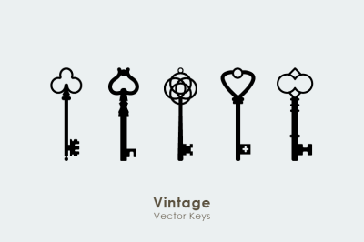 15 Vintage Retro Vector Keys