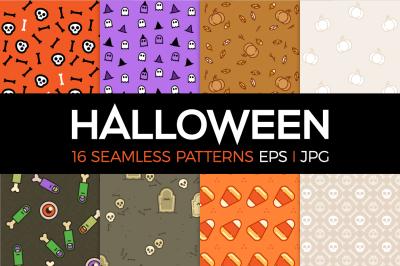16 Halloween seamless patterns