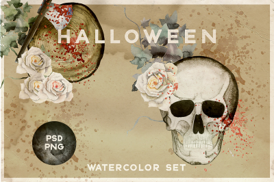 Watercolor Halloween Vintage