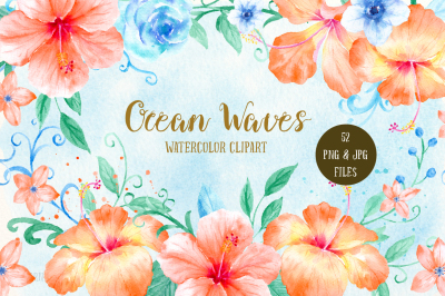 Watercolor Clipart Ocean Waves