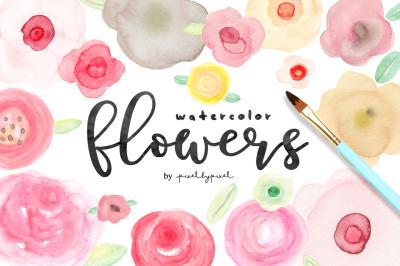 Watercolor Flowers + Bonus