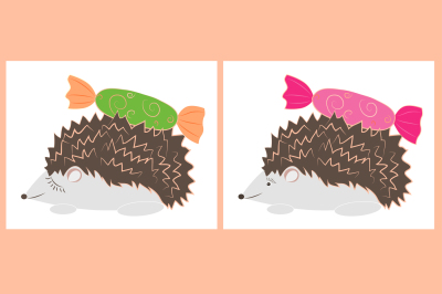 Hedgehog sniffs candy, set, vector images, two JPEG file with a resolution of 300 dpi and EPS 10, suitable for printing any size.
