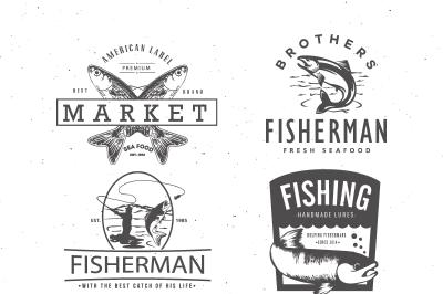 Fishing Vintage Badges Logos