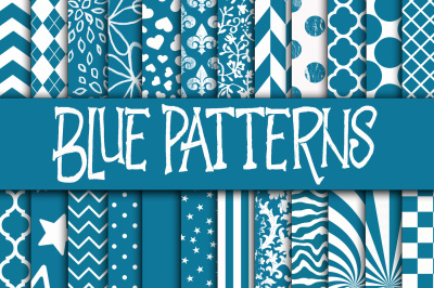 Blue Patterns Digital Paper