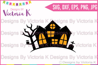 Haunted House, Halloween, SVG, DXF, Cricut, Silhouette, Cut File